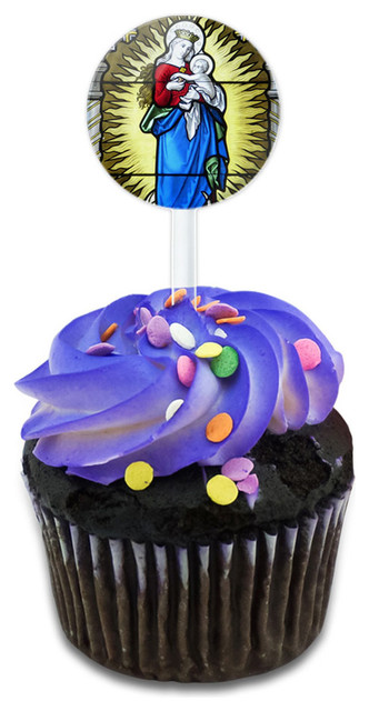 Stained Glass Virgin Mary And Jesus Madonna Cupcake Toppers Picks Set.