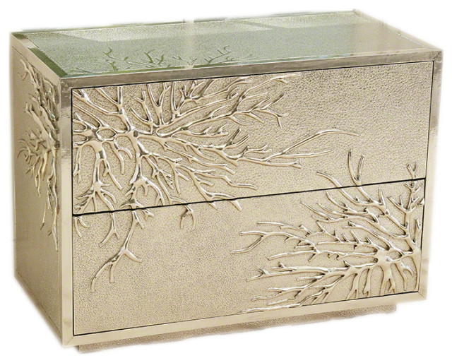 Luxe Modern Silver Coral Branch Accent Chest, Cabinet Metallic Twig 2 Drawer