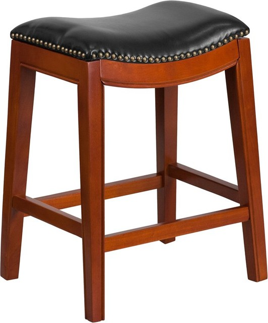 estella 26 39 39 backless light cherry wood counter stool with black leather seat transitional. Black Bedroom Furniture Sets. Home Design Ideas