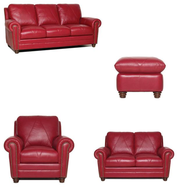 Weston Italian Leather Living Room Set, 4-Piece Set