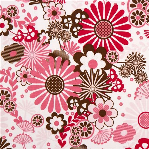 Kawaii Fabric Shop White Riley Blake Fabric With Pink