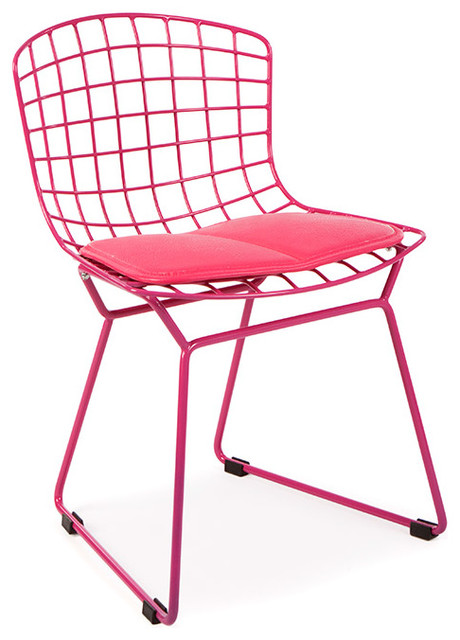 Kids Mid Century Retro Wire Playroom Lounge Dining Side Chair, Pink With  Red Cus