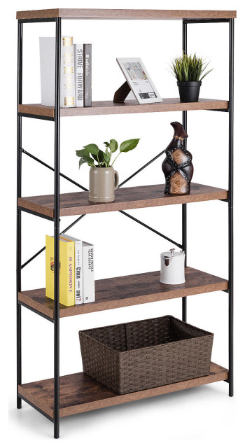 5 Tier Book Shelf Assembling Bookcase Display Cabinet Tube Reinforcement Rack UK