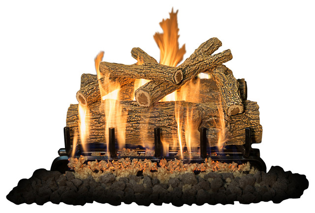 "24"" Arizona Weatherd Oak Logs, 2-Burner, Natural Gas."