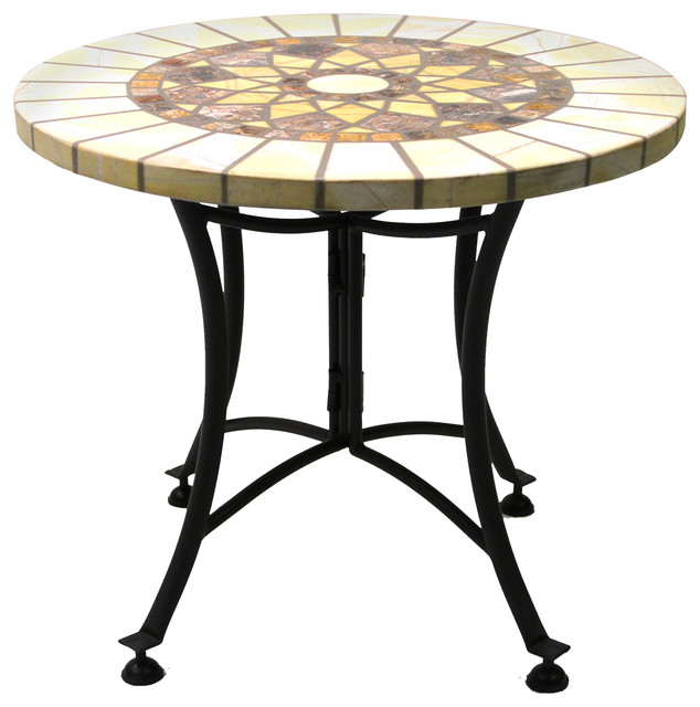 Marble Mosaic Accent Table With Metal Base - Southwestern - Table ...