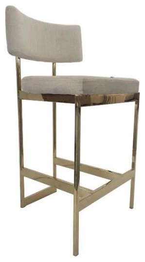 Modern Counter Height Stool Upholstered In Beige Fabric