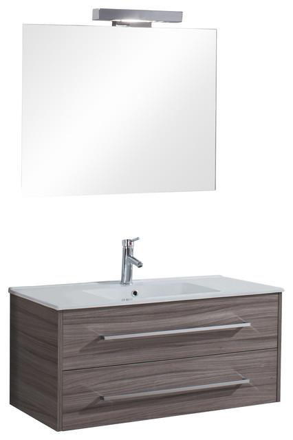 Hawaii 2-Drawer Wall-Mounted Bathroom Vanity Unit, Stone Grey, 100 cm
