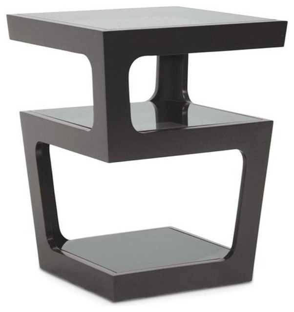 Glass-Top End Table, Black.