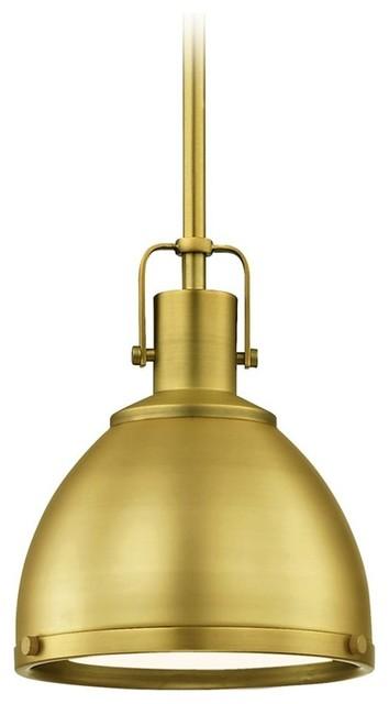 "Pendant Light, 7.38"", Satin Brass."