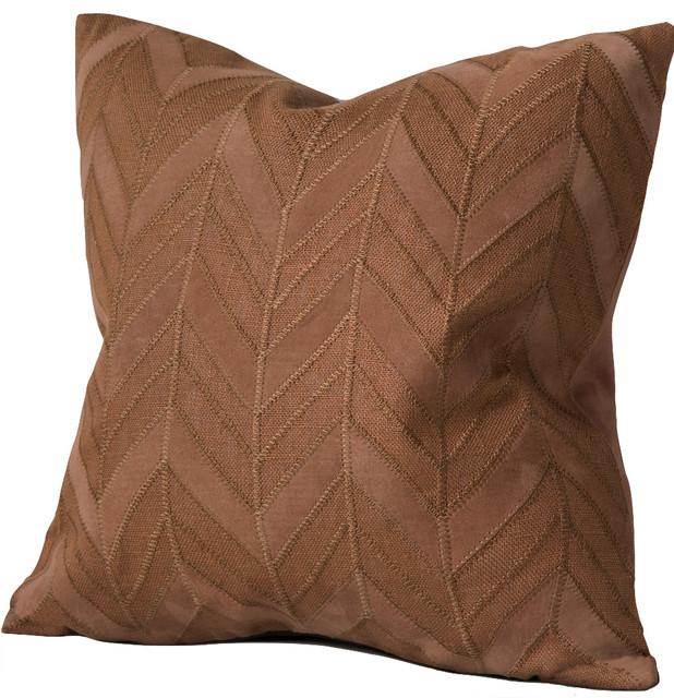 Cordova Linen & Suede Applique Feather-Down Lumbar Pillow - Decorative Pillows - by Chauran