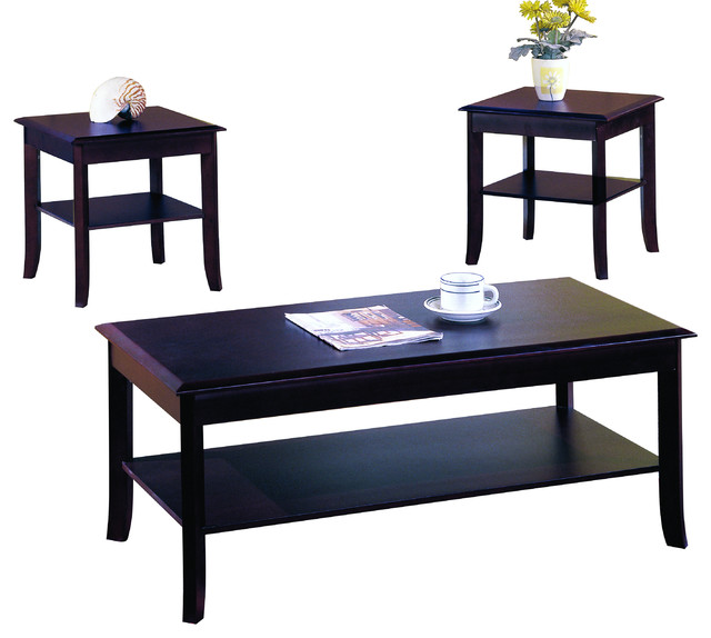 3 Piece Cherry Finish Wood Occasional Table Set Coffee Table And 2 End Tables Coffee Table