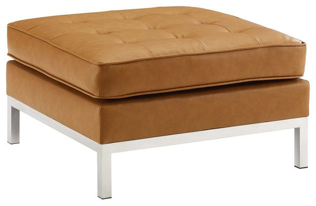 Sensational Modway Loft Tufted Upholstered Faux Leather Ottoman Eei 3394 Slv Tan Caraccident5 Cool Chair Designs And Ideas Caraccident5Info