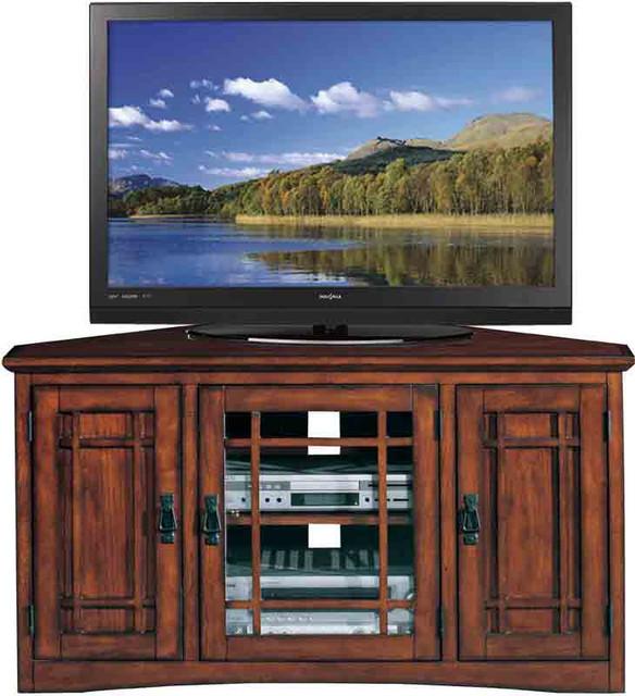 Leick Furniture Riley Holliday Mission Oak Mission 25h, 46w Corner Tv Stand.
