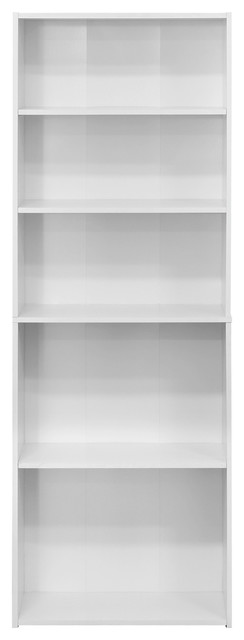 Furinno Wright 5-Shelf Bookcase, Soft White.