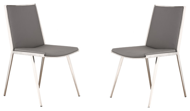 ibiza brushed stainless steel dining chair in gray pu