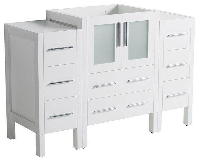 "Torino 48"" Modern Bathroom Cabinet, Cabinet Base Only, Base: White."