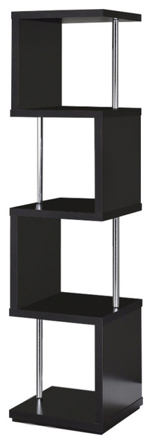 Four Tier Wood And Metal Bookcase, Black.