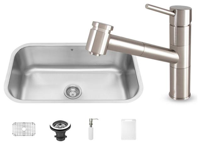 Shop Houzz Vigo Industries Vigo All In One Stainless Steel Undermount Kitchen Sink And Branson
