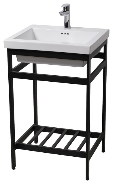 New South Beach 21 Stainless Steel Open Console With Sink Set, Black.