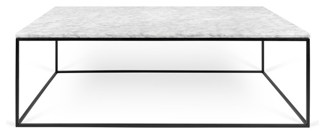 Nessa Marble Coffee Table, White, Black Steel Frame.