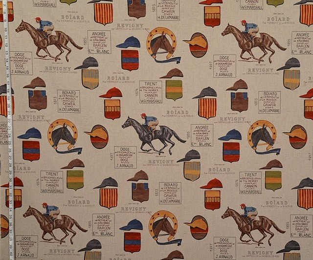 Horse Racing Fabric French Jockey Document Script