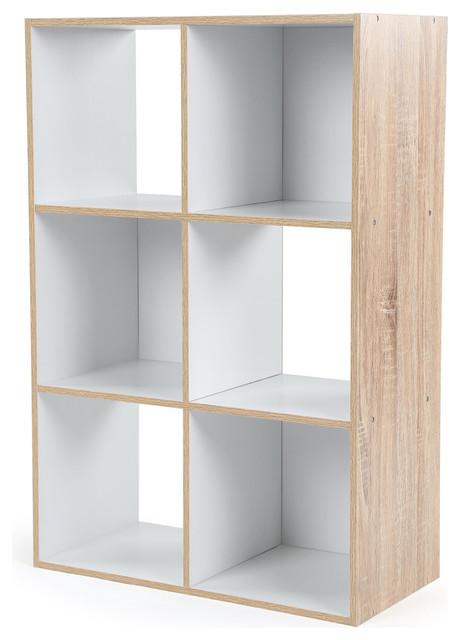Wood 6 Cube Storage Organizer, Natural.