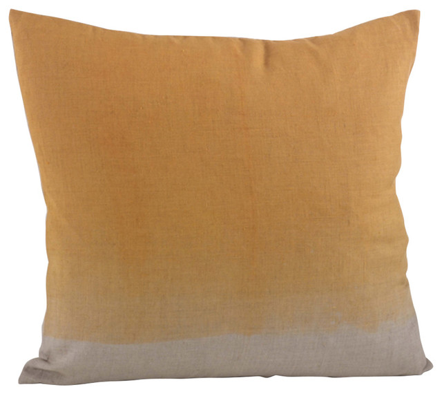"""Maratea Ombre Down Filled Throw Pillow, 20"""" Square, Marigold."""