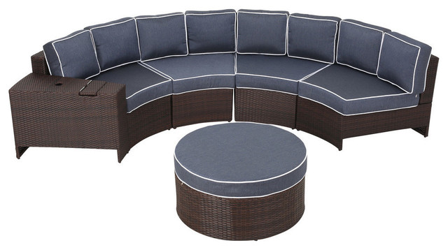 Outdoor 4 Seat Wicker Curved Set With Ottoman Tropical