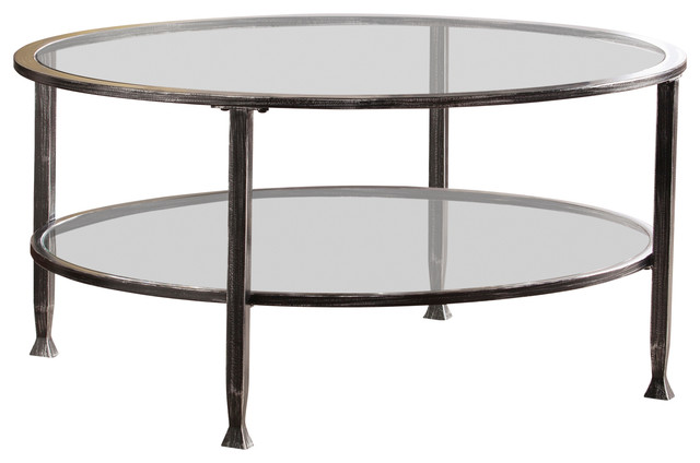 Symon Metal Glass Round Tail Table, Round Metal And Glass Coffee Table