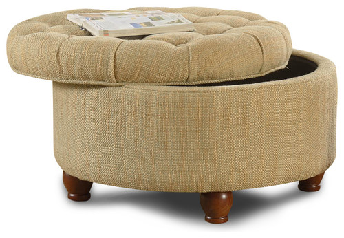 Wonderful What Size Is This Tufted Tan And Cream Tweek Round Storage Ottoman?