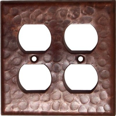 Double Duplex Outlet Hammered Copper Wall Plate Rustic Switch
