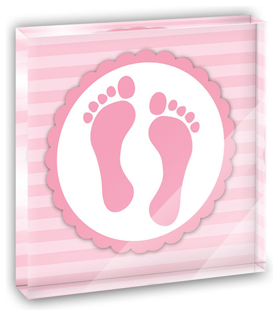 Baby Girl Footprints Mini Desk Plaque and Paperweight