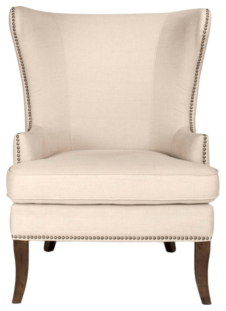 1st Avenue   Alfred Wingback Chair, Beige   Armchairs And Accent Chairs