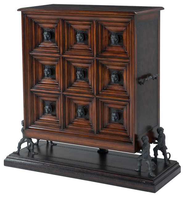 Leather Paneled Chest On Monkey Supports.