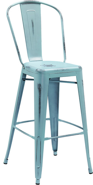 30 High Distressed Dream Blue Metal Indoor Outdoor Barstool