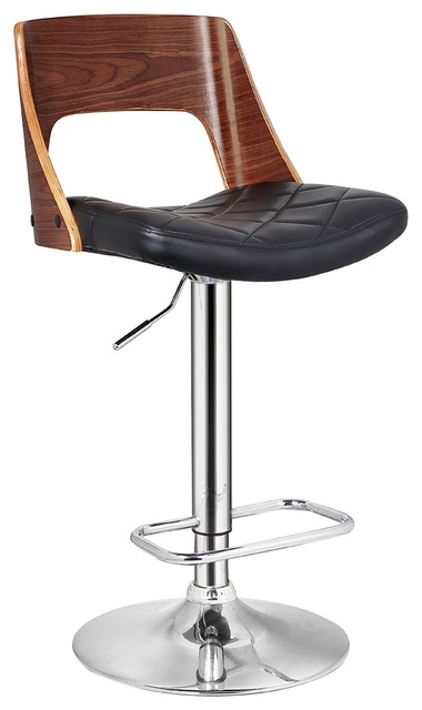 Stylish Wood Back Adjustable Swivel Barstool With Diamond Quilted Seat Bar  Stools And