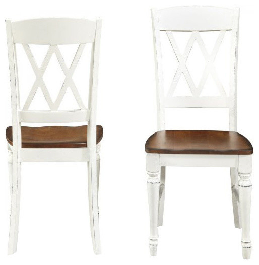 Incredible Home Styles Monarch Double X Back Dining Chair In White And Oak Set Of 2 Ibusinesslaw Wood Chair Design Ideas Ibusinesslaworg