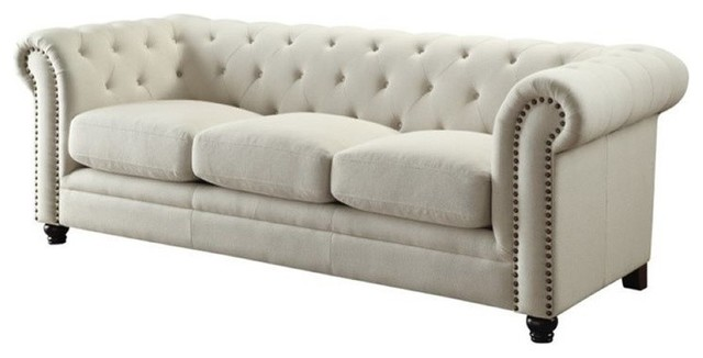 Bowery hill bowery hill fabric button tufted sofa cream for Button tufted chaise settee velvet canary