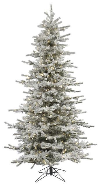 Flocked Slim Sierra Tree, Warm White LED Lights, 6.5'