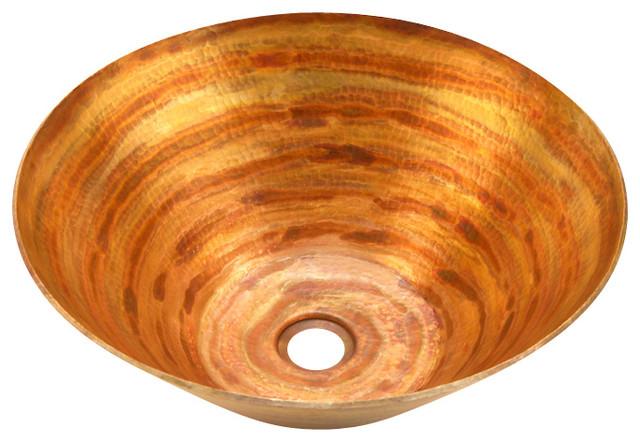 Round Vessel Bathroom Copper Sink - Very Thick Gauge 14.