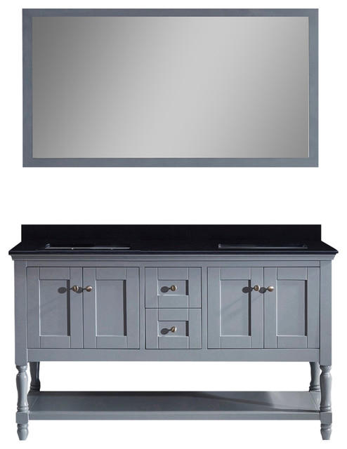 Julianna 60 Double Vanity, Gray, Black Galaxy, Without Faucet, Square.