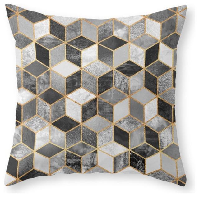 Society6 Black White Cubes Throw Pillow Contemporary