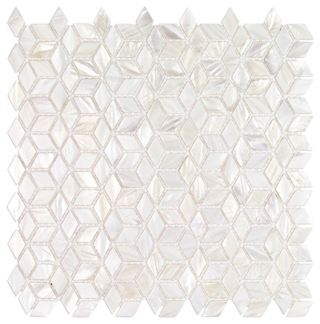 Pacif Random Sized Glass Pearl Shell Mosaic Tile Polished White Pearl Beach Style Mosaic Tile By Ivy Hill Tile