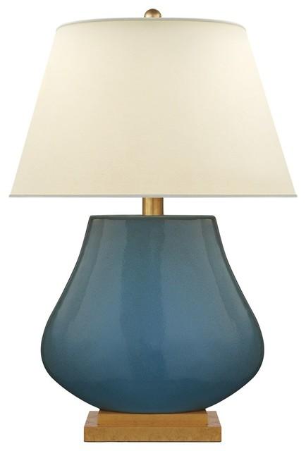 Visual Comfort Lighting E.f. Chapman Taiping 1-Light Table Lamp, Oslo Blue.