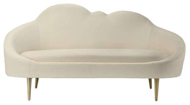 Cloud Cream Velvet Settee.