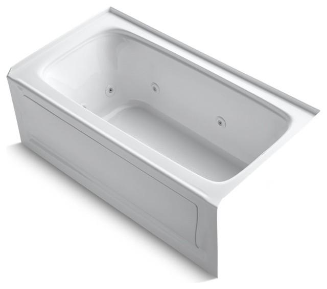 "Bancroft Alcove Whirlpool Tub, Right-Hand Drain, Heater, 60""x32"", White."
