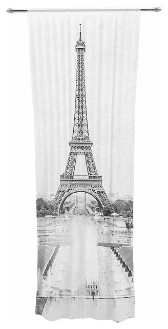 """paris"" Black White Travel Photography Decorative Sheer Curtain."