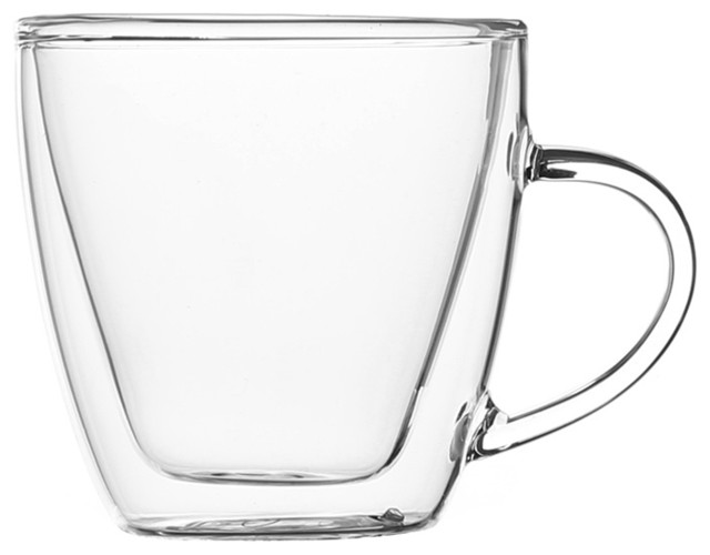 Forma Double Wall Glass Espresso Cups With Handles Set Of