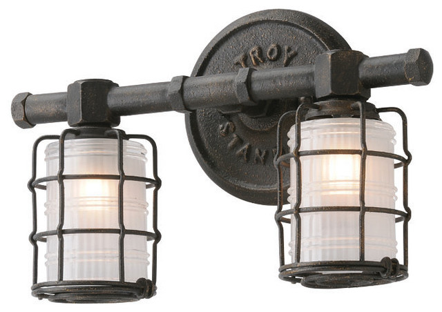 Bathroom Lighting Fixtures Nyc mercantile 2-light bathroom vanity light, vintage bronze
