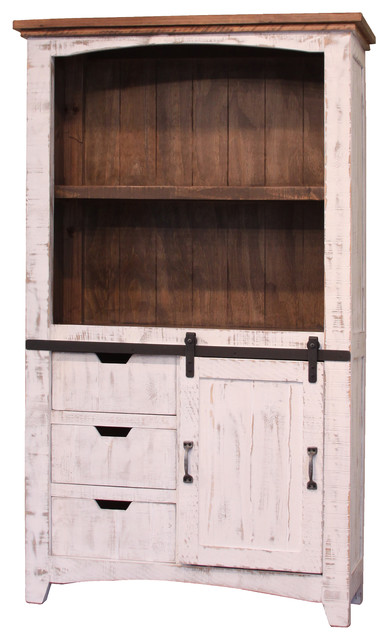 Greenview Sliding Door Bookcase Distressed White
